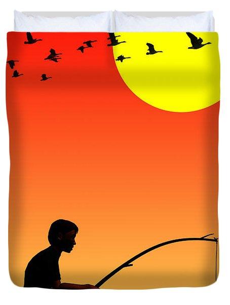 Childhood Dreams 3 Fishing Duvet Cover by John Edwards