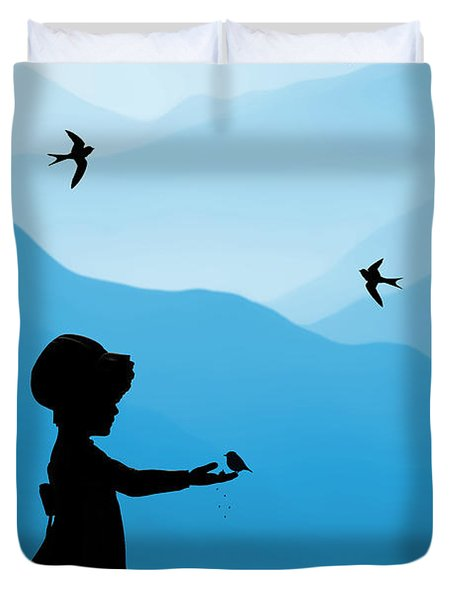 Childhood Dreams 5 Feeding Time Duvet Cover by John Edwards