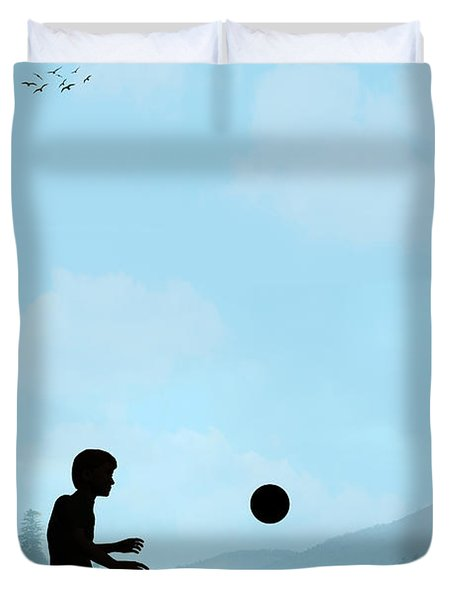 Childhood Dreams Football Duvet Cover by John Edwards