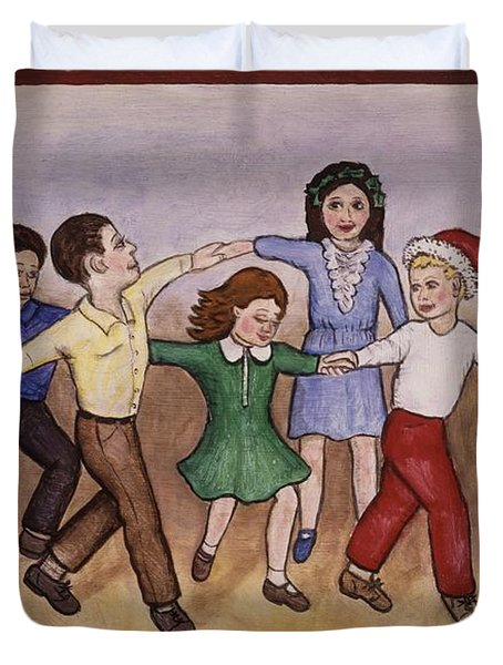 Children Dancing Duvet Cover by Linda Mears
