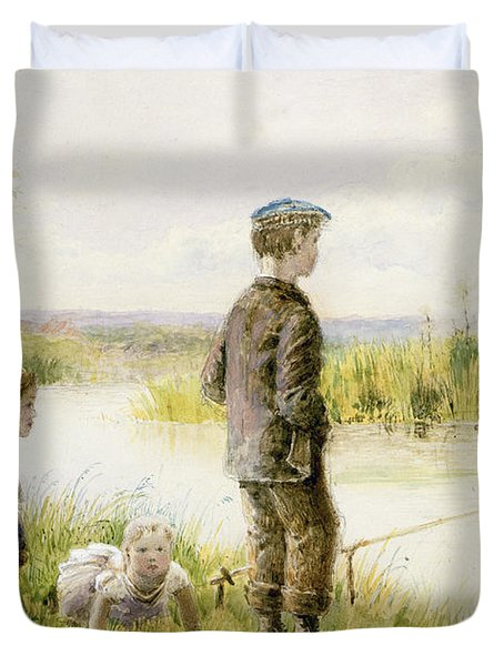 Children Fishing By A Stream Duvet Cover by George Goodwin Kilburne
