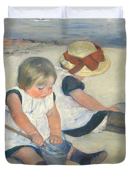 Children Playing On The Beach Duvet Cover by Mary Stevenson Cassatt