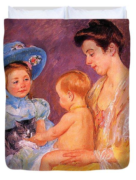 Children Playing With A Cat Duvet Cover by Marry Cassatt