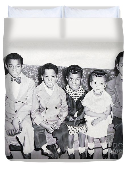 Children Sitting On Sofa Duvet Cover