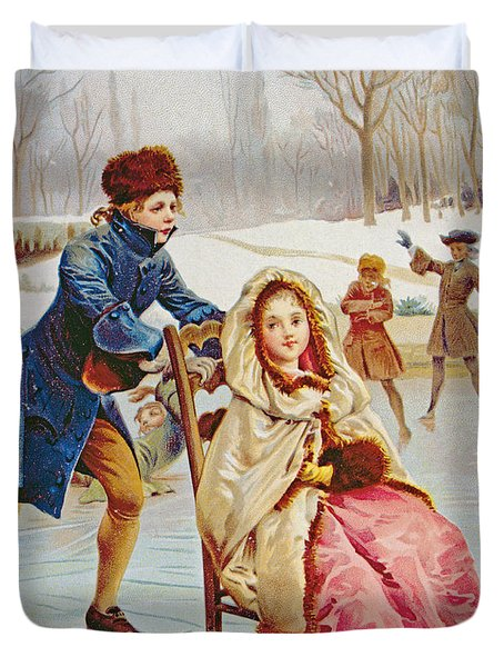 Children Skating Duvet Cover by Maurice Leloir