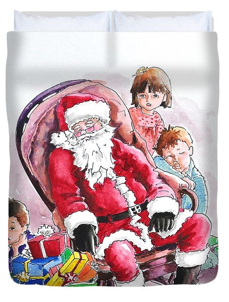 Children Patiently Waiting Up For Santa. Duvet Cover