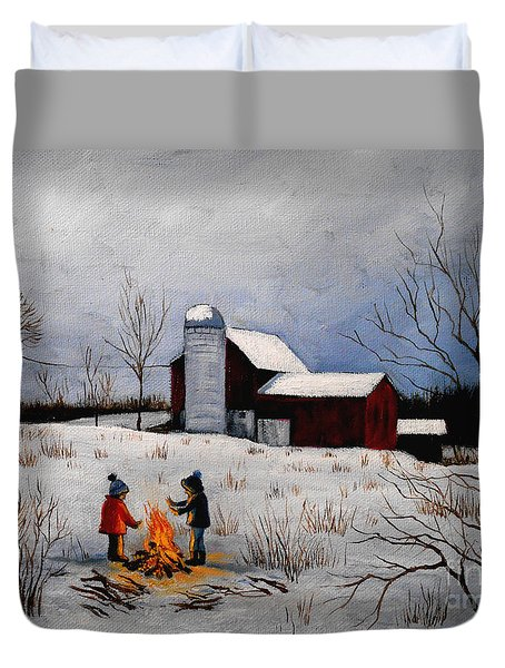 Children Warming Up By The Fire Duvet Cover