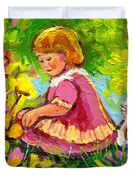 Children's Art - Little Girl With Puppy - Paintings For Children Duvet Cover by Carole Spandau