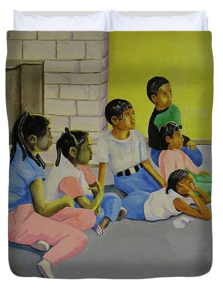 Duvet Cover featuring the painting Children's Attention Span  by Thomas J Herring