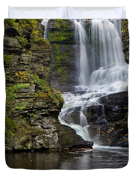 Duvet Cover featuring the photograph Childs Park Waterfall by Susan Candelario