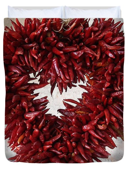 Duvet Cover featuring the photograph Chili Pepper Heart by Kerri Mortenson