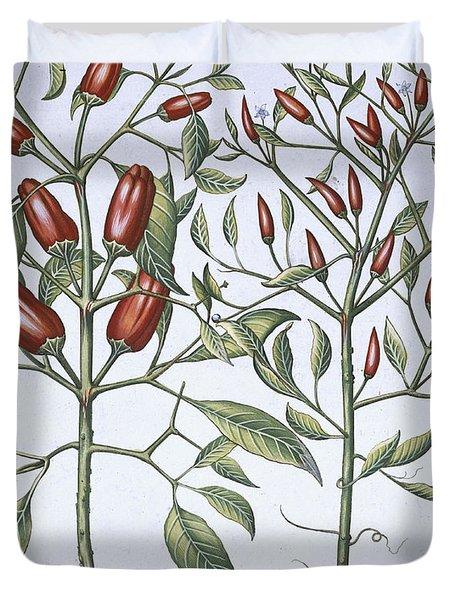 Chilli Pepper Plants Duvet Cover