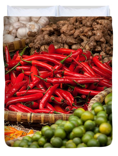 Chillies 01 Duvet Cover by Rick Piper Photography