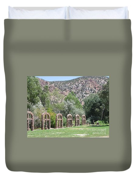 Duvet Cover featuring the photograph Chimayo Sanctuary In New Mexico by Dora Sofia Caputo Photographic Art and Design