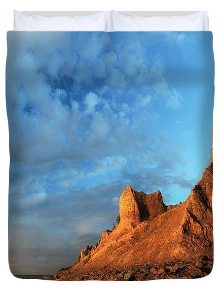 Chimney Bluffs 2 Duvet Cover by Mark Papke