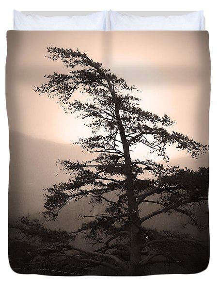 Chimney Rock Lone Tree In Sepia Duvet Cover
