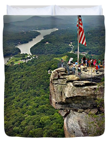 Duvet Cover featuring the photograph Chimney Rock Overlook by Alex Grichenko