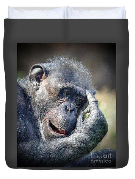 Duvet Cover featuring the photograph Chimpanzee Thinking by Savannah Gibbs