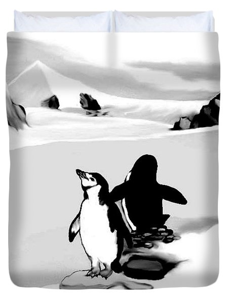 Chin Strap Penguins Duvet Cover