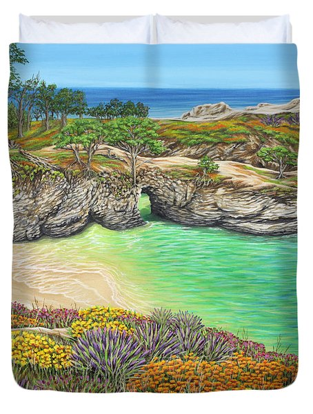 Duvet Cover featuring the painting China Cove Paradise by Jane Girardot