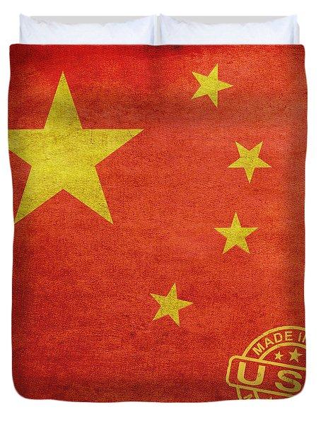 China Flag Made In The Usa Duvet Cover by Tony Rubino