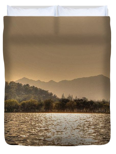 China Lake Sunset Duvet Cover