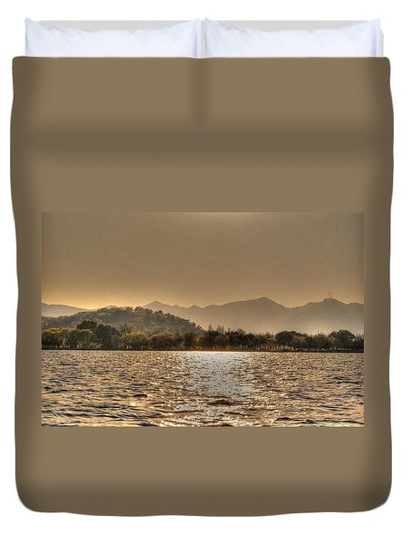 China Lake Sunset Duvet Cover