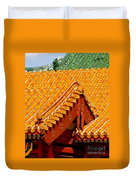 China Pavilion Duvet Cover by Joy Hardee