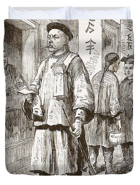 Chinaman Selling The Pekin Gazette Duvet Cover