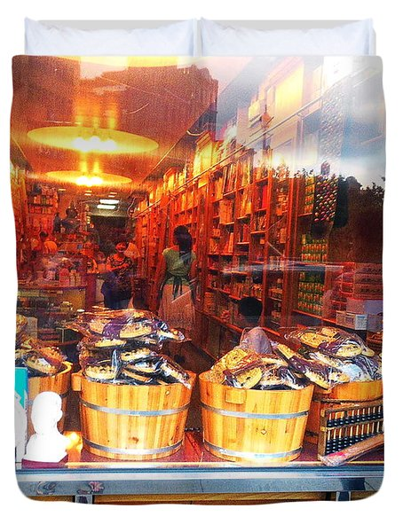 Duvet Cover featuring the photograph Chinatown Nyc Herb Shop by Joan Reese