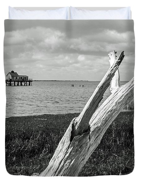 Chincoteague Oystershack Bw Vertical Duvet Cover by Photographic Arts And Design Studio