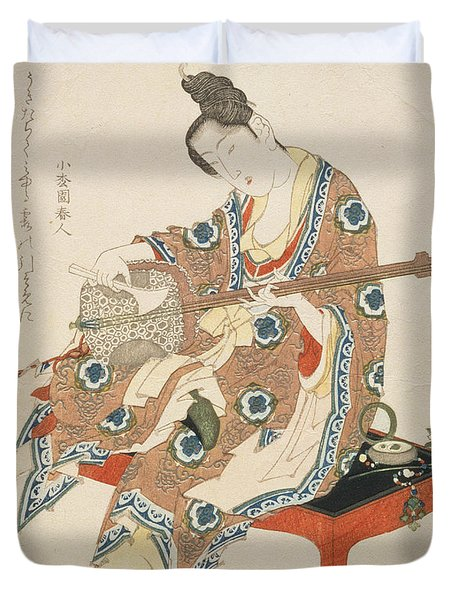 Chinese Beauty Playing The Shamisen Duvet Cover