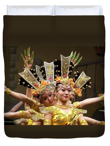 Chinese Dancers Perform Thousand Hands Guan Yin Duvet Cover