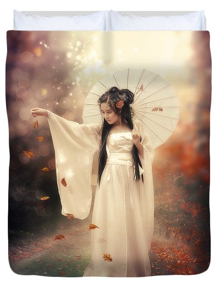Chinese Girl Duvet Cover by Cindy Grundsten