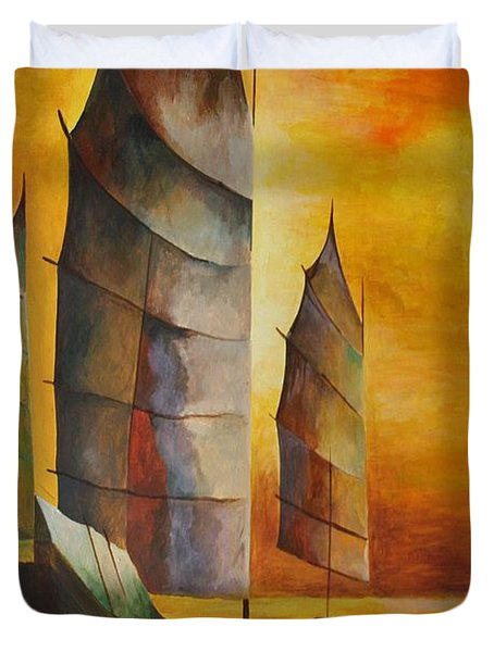 Duvet Cover featuring the painting Chinese Junk In Ochre by Tracey Harrington-Simpson