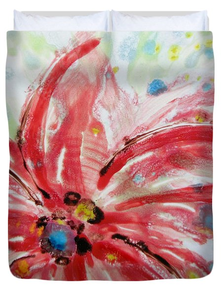 Duvet Cover featuring the painting Chinese Red Flower by Joan Reese