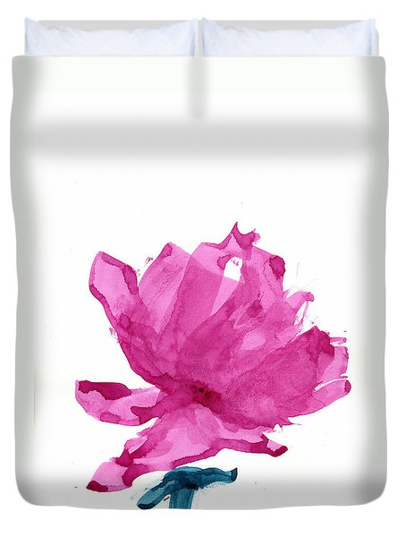 Duvet Cover featuring the painting Chinese Rose Hibiscus by Frank Bright
