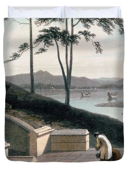 Chinese Tomb With Two Mourners Duvet Cover by Thomas & William Daniell