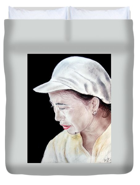 Chinese Woman With A Facial Mole Duvet Cover by Jim Fitzpatrick