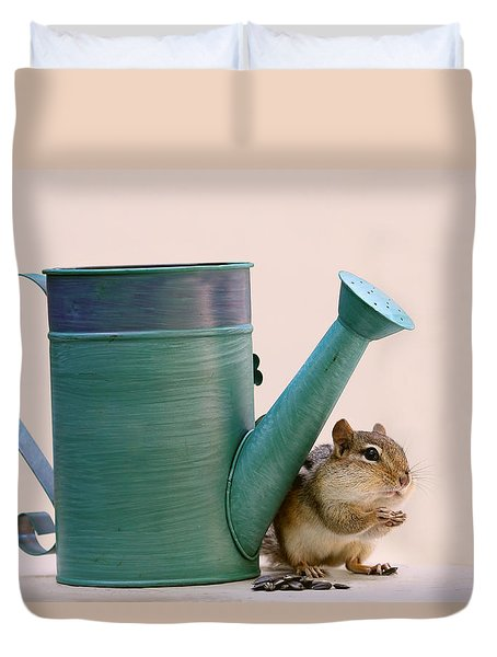 Chipmunk And Watering Can Duvet Cover by Peggy Collins