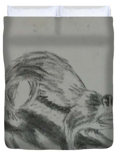 Chipmunk On The Prowl Duvet Cover by Thomasina Durkay