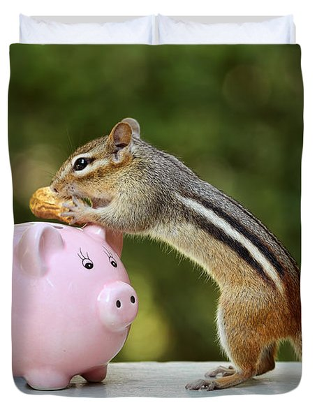 Chipmunk Saving Peanut For A Rainy Day Duvet Cover by Peggy Collins