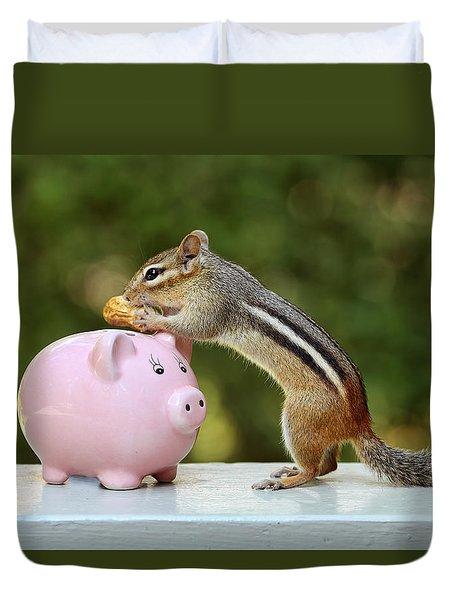 Chipmunk Saving Peanut For A Rainy Day Duvet Cover