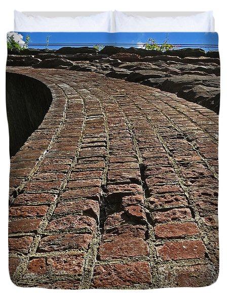Chipmunks View Of A Stone Bridge Duvet Cover