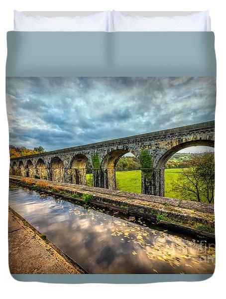Chirk Aqueduct 1801 Duvet Cover by Adrian Evans