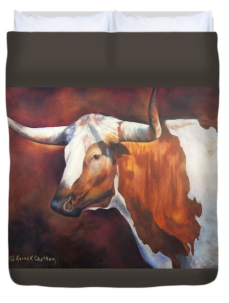 Duvet Cover featuring the painting Chisholm Longhorn by Karen Kennedy Chatham
