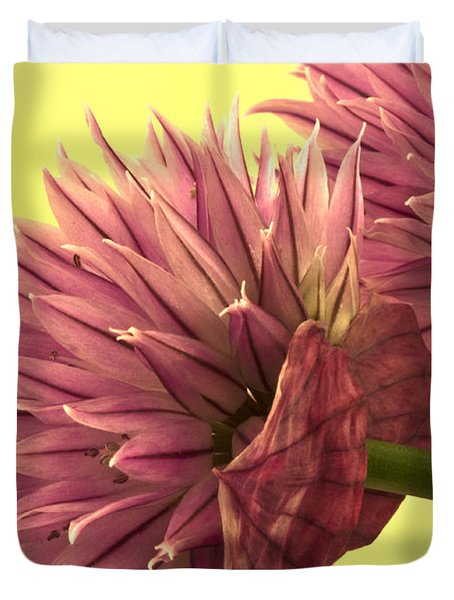 Chive Macro Beauty Duvet Cover by Sandra Foster