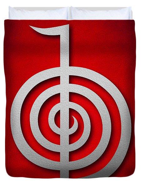 Cho Ku Rei - Silver On Red Reiki Usui Symbol Duvet Cover by Cristina-Velina Ion