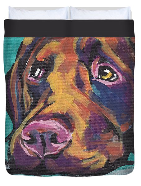 Choco Lab Love Duvet Cover by Lea S