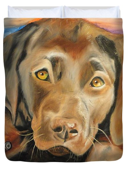 Chocolat Labrador Puppy Duvet Cover by PainterArtist FIN